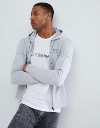 EA7 Zip Through Hooded Logo Sweat In Light Grey - Grey