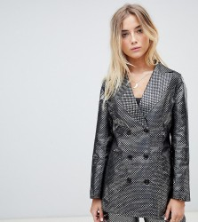 ebonie n ivory double breasted blazer in metallic jacquard co-ord - Silver