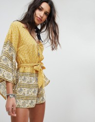 ebonie n ivory Tie Waist Playsuit with Kimono Sleeves In Paisley - Yellow