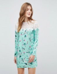 E.F.L.A Lace Panel Smock Dress In Floral - Multi