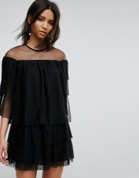 E.F.L.A Mesh Dress With Frills - Black