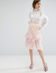 E.F.L.A Midi Skirt With Peplum Hem - Pink