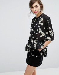 E.F.L.A Peplum Hem Top In Floral Print - Blue
