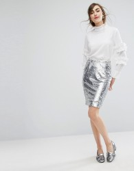 E.F.L.A Sequin Pencil Skirt With Frill Detail - Silver