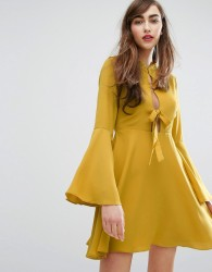E.F.L.A Tie Front Swing Dress - Yellow