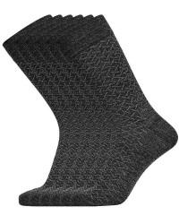 Egtved Sokker 3 Par Egtved luksussokker i Mørkegrå med Mønster uden elastik 56418 181
