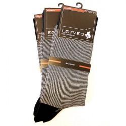 Egtved Sokker, JBS Undertøj 3 PAR Egtved luksussokker i Bambus stribet mørkeblå og grå 57300 296