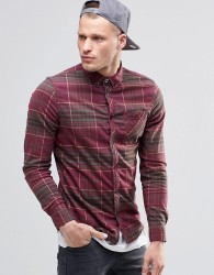 Element Buffalo Check Flannel Shirt In Regular Fit In Napa Red Buttondown - Red