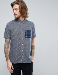 Element Dale Short Sleeve Shirt Gingham Check Buttondown in Blue - Blue