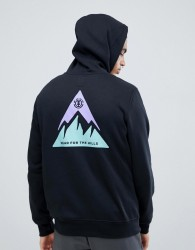Element Delta Hoodie With Back Print In Black - Black