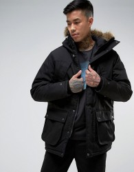Element Fargo Parka with Faux Fur Hood in Black - Black