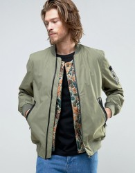 Element Flight MA1 Bomber Jacket Camo Quilt Detatchable Liner in Green - Green