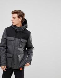 Element Hemlock Parka Jacket with Contrast Panels in Grey - Grey