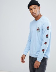Element long sleeve t-shirt with forces of nature back print in blue - Blue