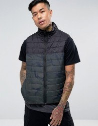 Element Puff Gilet in Camo with Reflective Logo - Black