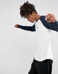 Element Raglan Long Sleeve T-Shirt In White & Navy - White