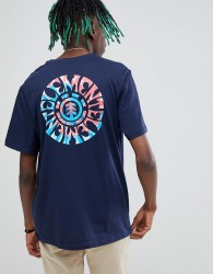 Element tie dye t-shirt with back print in blue - Blue