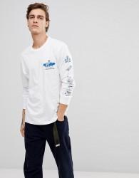 Element Wheelin Logo Long Sleeve T-Shirt In White - White