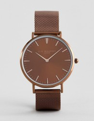 Elie Beaumont Watch With Chocolate Brown Dial and Mesh Strap - Brown