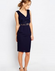 Elise Ryan 2 In 1 Lace Top Pencil Dress - Navy