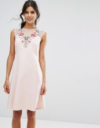 Elise Ryan A Line Dress In Mesh And Floral Applique - Pink
