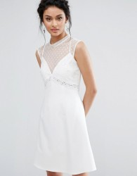 Elise Ryan A-Line Dress With Spot Mesh And Lace Bodice - White