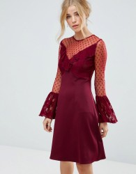 Elise Ryan A Line Mini Dress With Lace Frill & Fluted Long Sleeve - Red