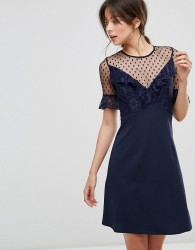 Elise Ryan A Line Mini Dress With Lace Frill & Fluted Sleeve - Navy