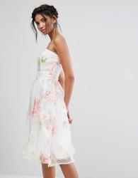 Elise Ryan Bandeau Midi Dress In Floral Organza - Multi