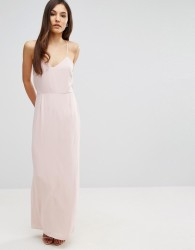 Elise Ryan Cami Strap Maxi Dress With Dipped Lace Back - Pink