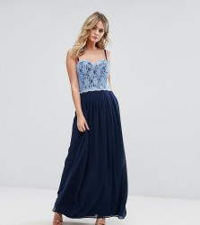 Elise Ryan Corset Detail Maxi Dress With Lace Bodice - Navy