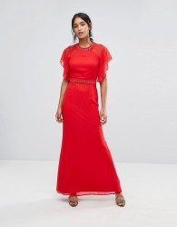Elise Ryan Embellished Trim Maxi Dress With Fluted Sleeve - Red