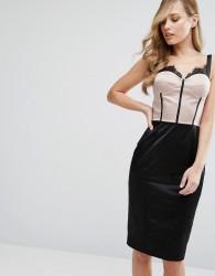 Elise Ryan Eyelash Lace Pencil Dress With Panelled Corset Detail - Multi