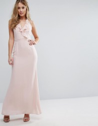 Elise Ryan Frill Maxi Dress with Straps - Pink