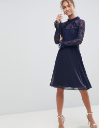 Elise Ryan High Neck Dress With Lace Sleeves - Navy