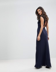Elise Ryan High Neck Maxi Dress With Cut Out Lace Back - Navy