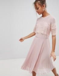 Elise Ryan High Neck Midi Dress With Pleated Skirt - Beige