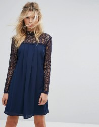 Elise Ryan High Neck Swing Dress With Lace Upper - Navy