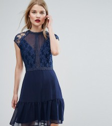Elise Ryan Lace Contrast Mini Dress With Pep Hem - Navy