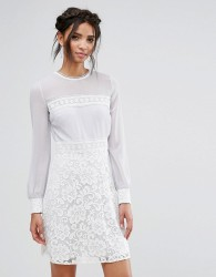 Elise Ryan Long Sleeve Mini Dress With Corded Lace Skirt - Multi