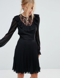 Elise Ryan Long Sleeve Skater Dress with Frill Detail And Pleated Skirt - Black