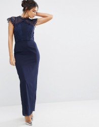 Elise Ryan Maxi Dress With Delicate Lace Trim - Navy