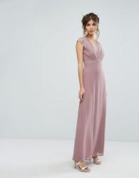 Elise Ryan Maxi Dress With Eyelash Lace And Embellished Waist - Pink