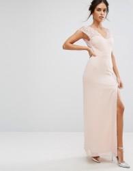 Elise Ryan Maxi Dress With Eyelash Lace Sleeve And V Back - Pink