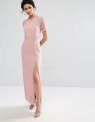 Elise Ryan Maxi Dress With Lace Sleeve And Back - Pink