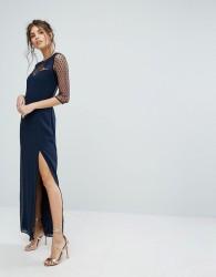 Elise Ryan Maxi Dress With Polka Mesh And Eyelash Lace Upper - Navy