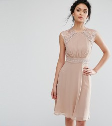 Elise Ryan Midi Dress With Crochet Lace Trim - Brown
