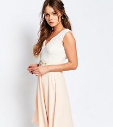 Elise Ryan Midi Dress With Lace Bodice And Embellished Waist - Beige