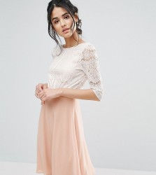 Elise Ryan Midi Dress With Scallop Lace Bodice And Low Back - Pink