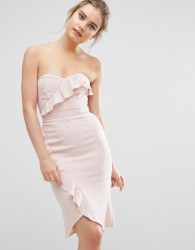 Elise Ryan Midi Pencil Dress With Frill Detail - Pink